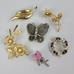 Vintage Butterfly & Flower Brooches
